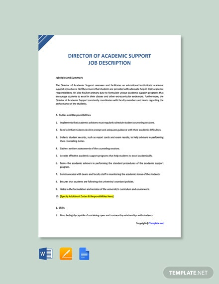 Free Director of Academic Support Job Description Template