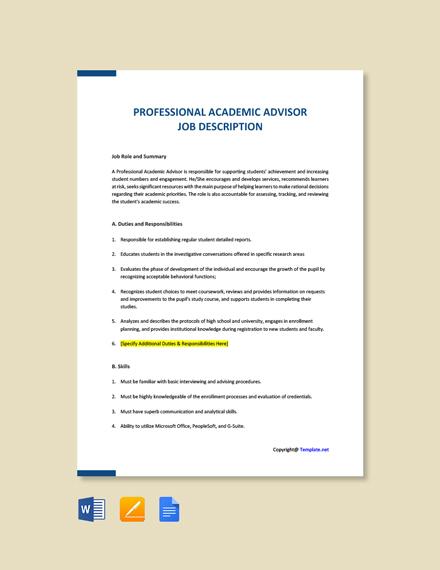 Free Professional Academic Advisor Ad and Job Description Template