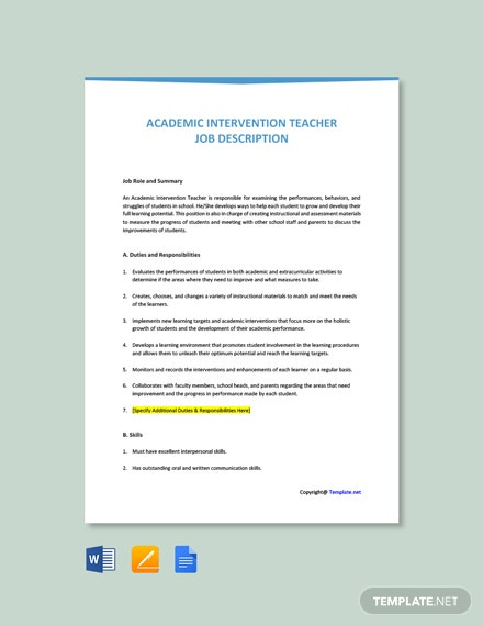 Free Academic Intervention Teacher Job Description Template