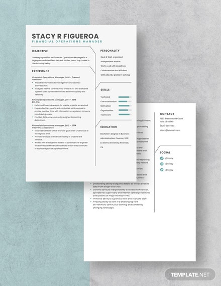 Financial Operations Manager Resume Download