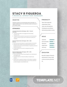 Financial Operations Manager Resume Template