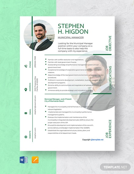Free Municipal Manager Resume Template