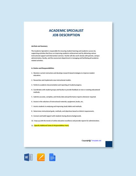 Free Academic Specialist Job Description Template