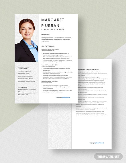 Financial Planner Resume Download