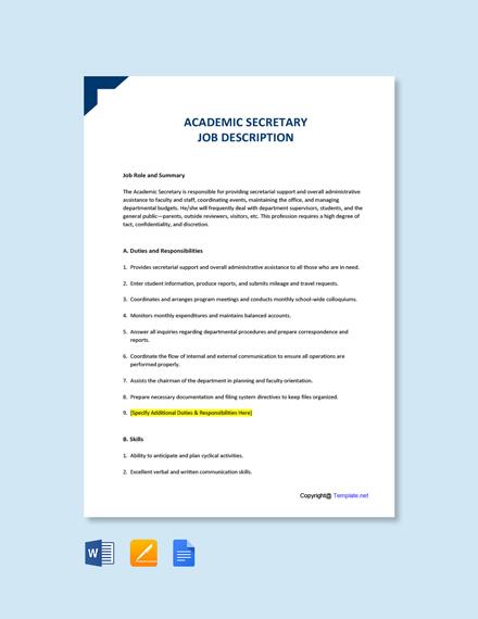 Free Academic Secretary Job Description Template