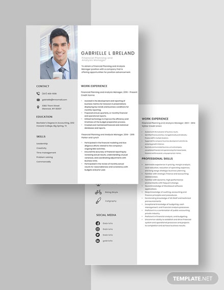 Financial Planning and Analysis Manager Resume Download