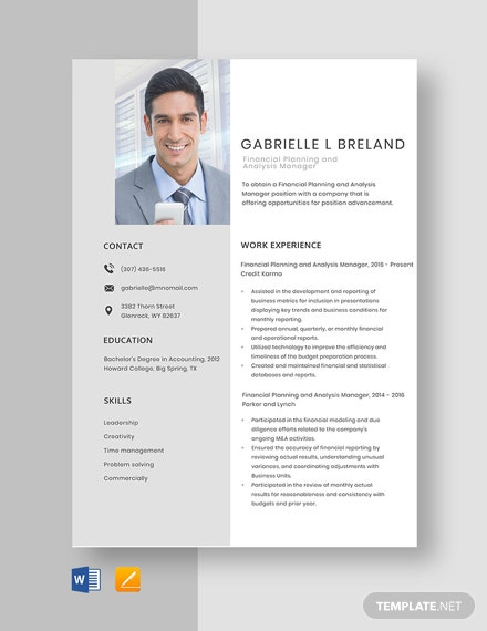 Financial Planning and Analysis Manager Resume Template