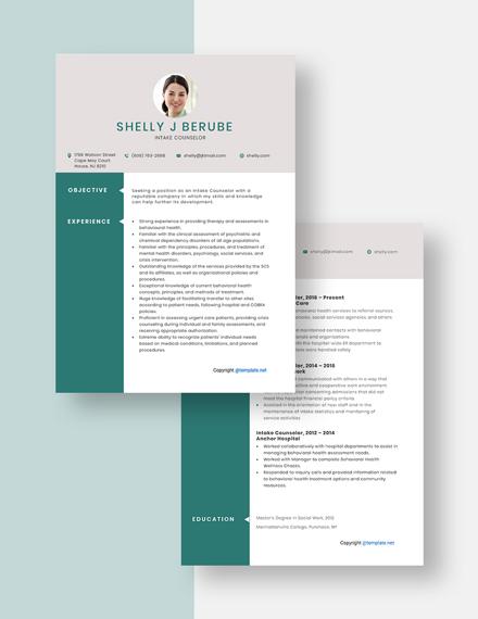Intake Counselor Resume Download