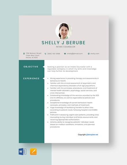 Free Intake Counselor Resume Template