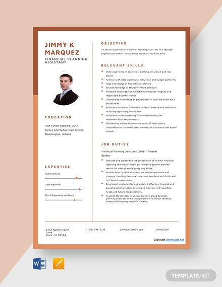 Free Financial Planning Assistant Resume Template