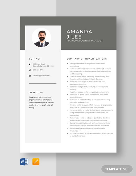 Financial Planning Manager Resume Template