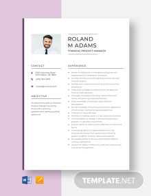 Financial Product Manager Resume Template