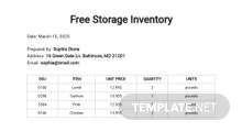 Free Storage Inventory Template