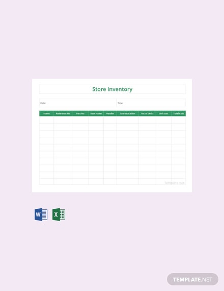 Free Store Inventory Template
