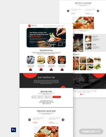 Sushi Restaurant Website Template