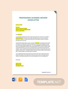 Free Professional Academic Advisor Cover Letter Template