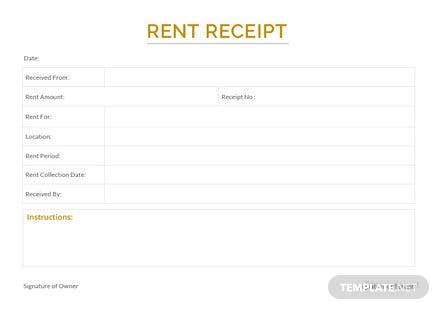 Free Sample Apartment Rent Receipt Template