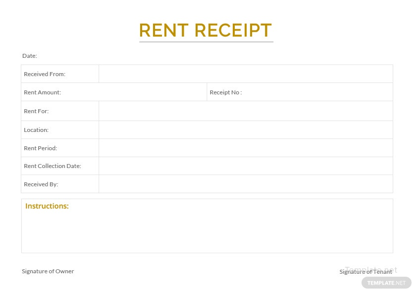 Sample Apartment Rent Receipt Template In Microsoft Word Template