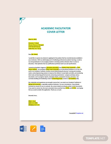 Free Academic Facilitator Cover Letter Template