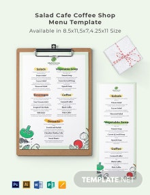 Salad Cafe/ Coffee Shop Menu Template