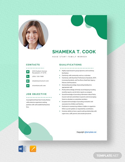 Free Head Start Family Worker Resume Template