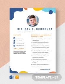 Free Head Start Teacher Resume Template