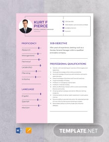 Hockey General Manager Resume Template