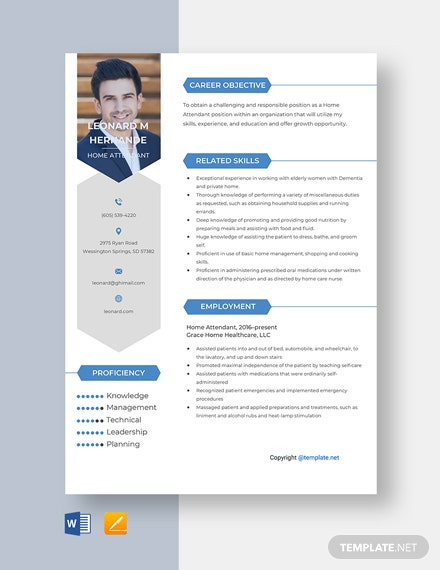 Free Home Attendant Resume Template