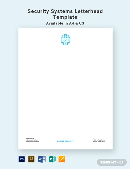 Security Systems Letterhead Template