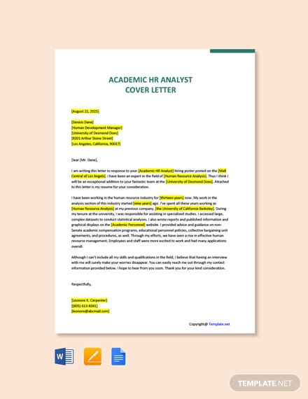 Free Academic HR Analyst Cover Letter Template