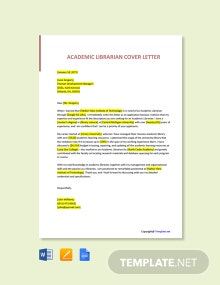 Free Academic Librarian Cover Letter Template