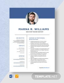 Free Head Start Teacher Assistant Resume Template
