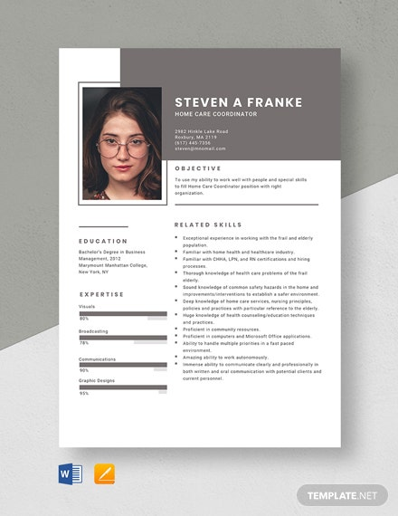 Free Home Care Coordinator Resume Template