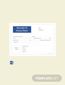 Free Receipt Template of House Rent