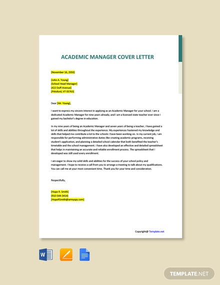 Free Academic Manager Cover Letter Template