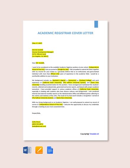 Free Academic Registrar Cover Letter Template