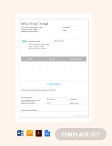 Free Office Rent Receipt Sample