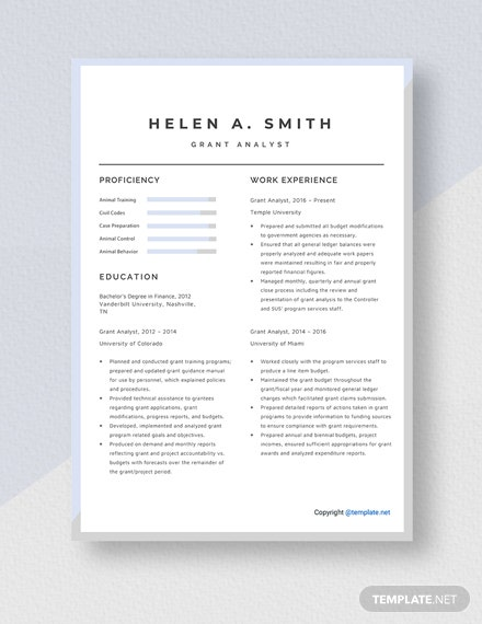 Grant Analyst Resume Template