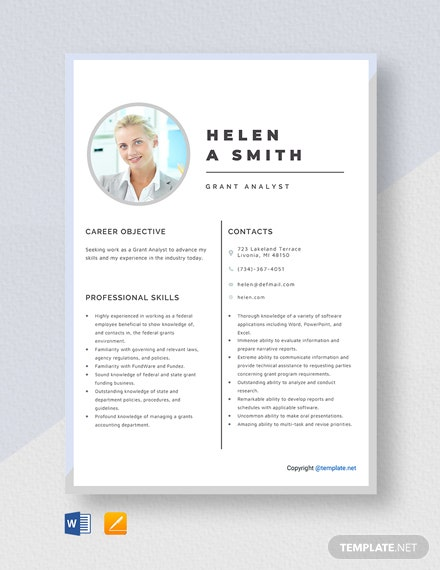 Free Grant Analyst Resume Template