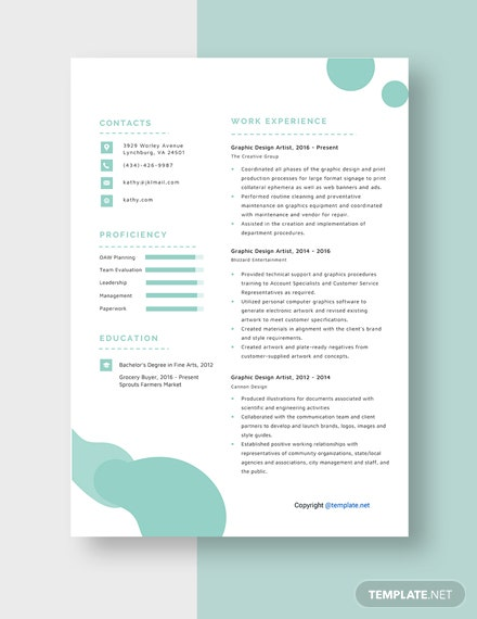 Graphic Design Artist Resume Template