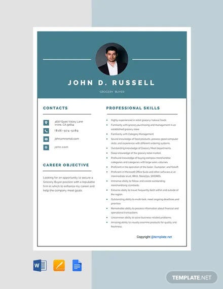 Grocery Buyer Resume