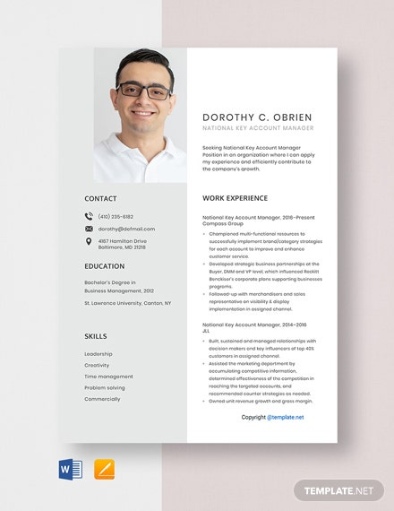 Free National Key Account Manager Resume Template