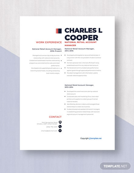 National Retail Account Manager Resume Template
