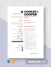 Free National Retail Account Manager Resume Template