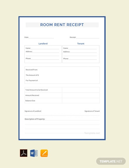Free Room Rent Receipt Template