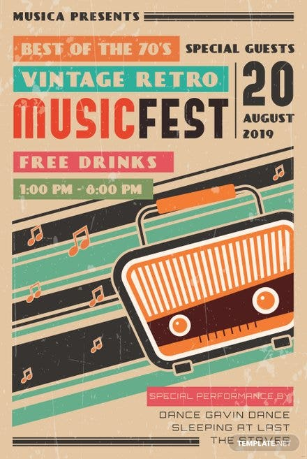 Free Vintage Retro Music Poster Template