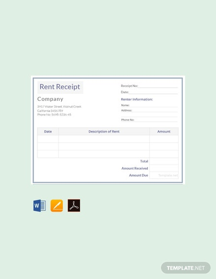free sample rental receipt template