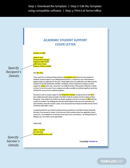 Academic Student Support Cover Letter Template