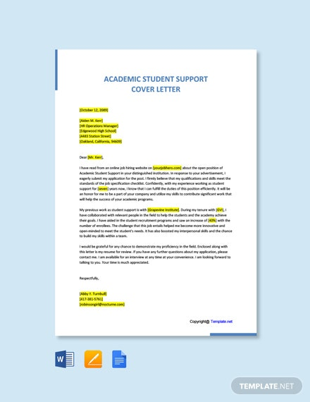 Academic Student Support Cover Letter