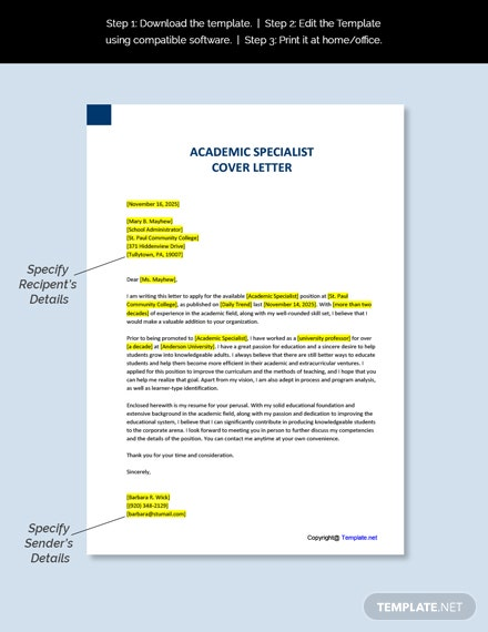 Academic Specialist Cover Letter Template